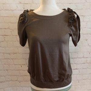 Zara Basic Olive Open Sleeves Ruffle Shirt